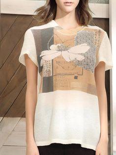 #AdoreWe #StyleWe Designer T-Shirts - Designer PEINAXI White Wool Short Sleeve T-Shirt - AdoreWe.com