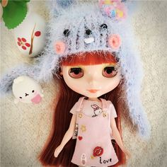Cute Pink Overalls Suspender Skirts Embroider Skirt Rabbit T-shirt Tops Clothes For Blythe Dolls