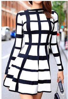 Trendy Round Neck Long Sleeve Plaid Dress For Women - Style: Cute - Material: Polyester - Silhouette: A-Line - Dresses Length: Mini - Neckline: Round Collar - Sleeve Length: Long Sleeves - Pattern Typ Love Fashion, Autumn Fashion, Womens Fashion, Fashion Design, Fashion Trends, Girl Fashion, Fashion Sale, Fashion Black, Fashion Fashion