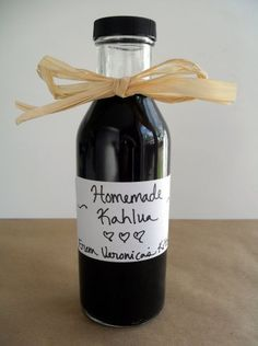 Homemade Kahlua {Coffee Liqueur}  Printable recipe  Printable recipe with picture    2/3 cup instant coffee  2 cups boiling water  2 cups brown sugar  2 cups white sugar  3 cups vodka  1/4 cup Buttershots (a butterscotch flavored liqueur, optional)  1 teaspoon vanilla extract or 1 vanilla bean