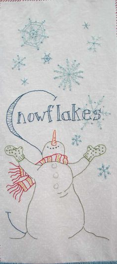 Embroidery Pattern I love me a snowman! Quilt pattern from Crabapple Hill. - I'm leading a hand embroidery block party this year using the pattern Snowmen A to Zzzz… from Crabapple Hill. I've promised my group I'd post here after we meet. Folk Embroidery, Christmas Embroidery, Hand Embroidery Patterns, Cross Stitch Embroidery, Quilt Patterns, Machine Embroidery, Vintage Embroidery, Sewing Crafts, Sewing Projects