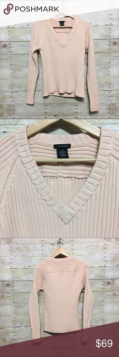 Calvin Klein Jeans heavy ribbed knit sweater, XL Calvin Klein Jeans heavy ribbed knit blush v-neck sweater, XL Calvin Klein Jeans Sweaters V-Necks