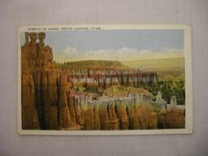 1 of 2: VINTAGE LINEN POSTCARD TEMPLE OF OSIRIS IN BRYCE CANYON UTAH UNUSED