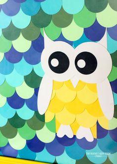 Owl Paint Chip Art {Little Boy Room Project} Paint Sample Cards, Paint Cards, Paint Samples, Paint Chip Wall, Chip Art, Paint Swatches, Owl Art, Art Party, Crafty Craft