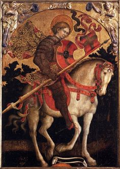 GIAMBONO, Michele  [Italian Early Renaissance Painter, ca.1400-1462]  St Chrysogonus on Horsebackc. 1450