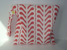 """montreal------Wet bag Waterproof , Outfoxed Stripe Ferm Pink  fabric Cloth diaper zipper pouch , gym sports bag ,Snap handle 10""""x 10"""". $15,00, via Etsy."""