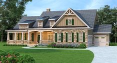 Approximately 4,061 square feet of usable living space is packaged in a lovely exterior consisting of board and batten, stone and horizontal siding. Window dormers and a striking front covered porch continue the lovely theme where there are arched openings overhead, tapered beams and stacked stone pillars offering the perfect spot to greet family and …