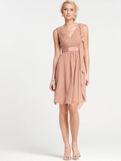V-neck Bridesmaid Dress with Crossover Front Sleeveless Flutter