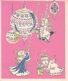 Vtg c1950 WALLACE BROWN Inc WB / ANGELS Painting / PINK / Christmas Card