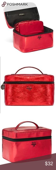 "Victoria's Secret train case Victoria's Secret weekender train case in red. Brand new! Still in original packaging! Includes train case with 1 small beauty bag! Perfect for make up, Brushes, jewelry, and other beauty essentials. Top compartment with Zip pocket and brush organization.   Train case: 9¼""L x 6¼""W x 6""H Small beauty bag: 7½L"" x 2½W"" x 3¼H"" Victoria's Secret Bags Cosmetic Bags & Cases"