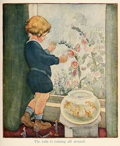 The Rain - Illustration by Mary Ruth Hallock from A child's garden of verses by Robert Louis Stevenson, 1919 Robert Louis Stevenson Books, Laura Scott, Baumgarten, Fish Tales, Children's Book Illustration, Vintage Images, Vintage Art, Vintage Children, In This World