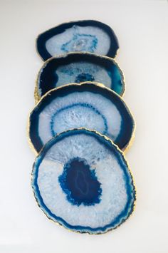 // Brazilian Agate coasters sets //    ► Blue agate coasters are a royal to navy blue, some with teal hues with white to light blue marbling and