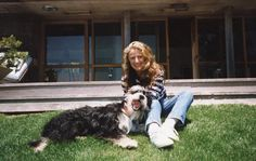 Ricky with Rugby, the family dog, in Montauk, 1990