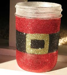 Glittery Santa's Belly Jar
