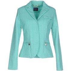 Trussardi Jeans Blazer ($220) ❤ liked on Polyvore featuring outerwear, jackets, blazers, turquoise, blue blazer, long sleeve jacket, padded jacket, lapel jacket and blazer jacket