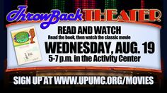 Eat pizza, wear PJ's, and bring bean bag chairs or blankets to make for a comfy movie night in the Activity Center. Kids can read the books throughout the summer and then come watch the movie with us. Be sure to RSVP for this FREE event at www.upumc.org/movies.