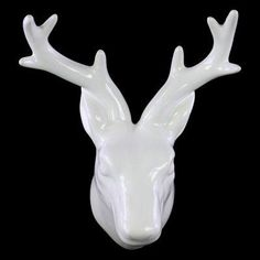 Urban Trends Ceramic White Deer Head Wall Sculpture - 46870, UTC1797-1