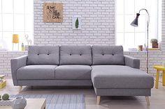 Bobochic - OSLO - Canapé d angle droite convertible - Gris clair - 225x147x86cm: Amazon.fr: Cuisine & Maison