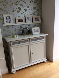 Painted sideboard in rustoleum chalk paint winter grey with anthracite contrast.