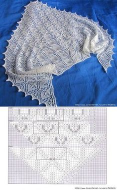 Ru - Diy Crafts - Her Crochet Lace Knitting Patterns, Shawl Patterns, Knitting Stitches, Free Knitting, Stitch Patterns, Knitted Shawls, Crochet Shawl, Free Crochet, Tricot D'art