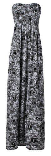 Ditzy Fashion Women's Plain Sheering Boob Tube Maxi Dress (L/XL Skull Diamond White). Ditzy Fashion Ladies Plain Sheering Boob Tube Maxi Dress - Black - ML