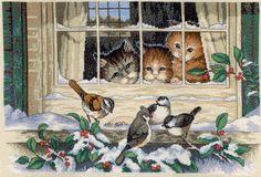 Скачать Трое наблюдателей бесплатно. As well as other schemes embroidery sections: Cats, Dimensions, Pets, Winter, Birds