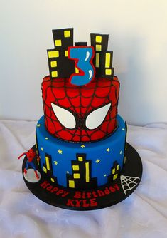 Two tier Spiderman themed birthday cake | Design was send in… | Flickr