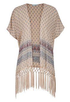 beige chiffon kimono with weaved fringe #maurices