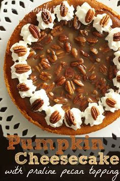 Three of my favorite things combined... Pumpkin Pie, Cheesecake, and Pecan Pie. Best holiday dessert EVER!