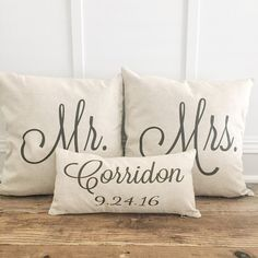 Mr & Mrs Pillow Covers With Name & Wedding Date (Set of 3)