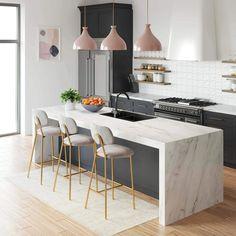 Apartment Kitchen, Home Decor Kitchen, Interior Design Kitchen, New Kitchen, Home Kitchens, Space Kitchen, Kitchen Bar Design, Condo Kitchen Remodel, Peninsula Kitchen Design