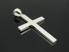 Mens Sterling Silver 925 Simple Cross Pendant
