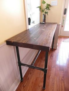 Diy industrial sofa back tabley need to change up the legs on reclaimed wood thick hemlock console table with industrial pipe legs villageart furniture watchthetrailerfo