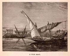 1875, Felucca, Louxor, Nile River, Egypt