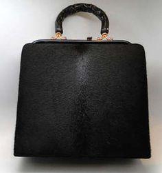 Vtg. 1960s BLACK FUR HANDBAG BAG