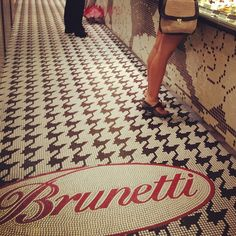 Houndstooth mosaic floor pattern at Brunetti Cafe, Singapore