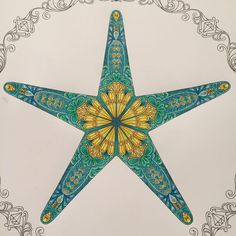 """Starfish done! Took way too long to work out what colours to use! #johannabasford #johannabasfordlostocean #lostocean #colour #colouringformindfullness…"""