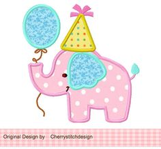 Birthday Elephant 4x4 5x7 6x10Machine by CherryStitchDesign