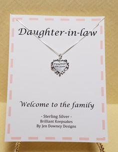 Daughter In Law Welcome to the Family Gift Keepsake Jewelry Engagement Gifts, Wedding Engagement, Daughter In Law Gifts, Wedding Day Quotes, Welcome To The Family, Family Gifts, Mother Of The Bride, Bride Groom, Wedding Gifts