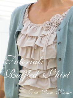 Tutorial: Ruffled Shirt - https://sewing4free.com/tutorial-ruffled-shirt/