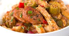 Get a taste of New Orleans with this hearty chicken andouille sausage gumbo! Smoky sausage, okra, tender chicken and vegetables makes this a delicious dish. Chicken Gumbo Recipes, Seafood Recipes, New Recipes, Cooking Recipes, Easy Recipes, Recipies, Dinner Recipes, Favorite Recipes, Andouille Sausage Recipes