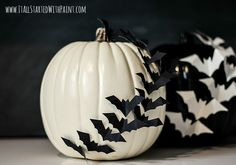 Make bats take flight across your Halloween pumpkins for a spooky decoration that will delight trick-or-treaters.