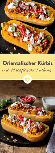 Herbst trifft Orient: Butternutkürbis mit orientalischer Hackfleisch-Füllung The autumnal butternut squash loves its aromatic filling of minced meat and oriental spices as well as its topping of yoghurt and pomegranate. Healthy Meats, Healthy Eating Tips, Meat Recipes, Cooking Recipes, Healthy Recipes, Dinner Recipes, Food Tags, Vegetable Drinks, Pumpkin Recipes