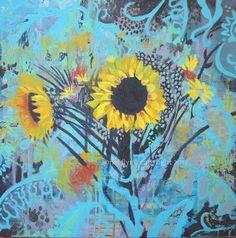 Sunflowers on Aqua and Black. annie flynn