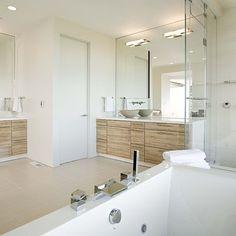 Wood in a modern bathroom