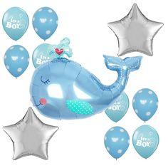 Baby Shower Party Supplies It's a Boy Foil Balloons Blue Dots Whale Shape Decor #Anagram #BabyShower