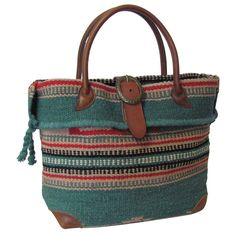 Amerileather  Odyssey  Turquoise Tribal Print Wool-blend Tote Bag