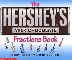 The Hershey's Milk Chocolate Bar Fractions Book by Jerry Pallotta http://www.amazon.com/dp/0439135192/ref=cm_sw_r_pi_dp_1dp7ub0Y6A1JC