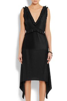 Givenchy | Pleated midi dress in black stretch-satin | NET-A-PORTER.COM