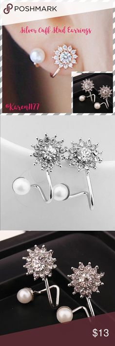 """Just In Silver & Faux Pearls Cuff stud earrings New Silver, Crystal & pearls (faux) Cuff stud earrings. Alloy material. Around 1"""" L Jewelry Earrings"""